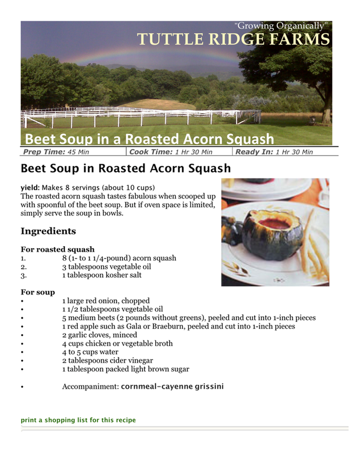 Beet Soup in Roasted Acorn Squash | TUTTLE RIDGE FARMS ...
